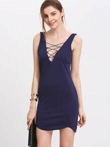 Lace-up V Neck Bodycon Dress