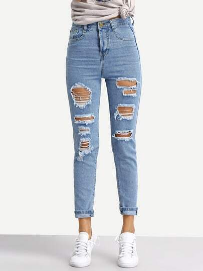 Blue Ripped Denim Pant