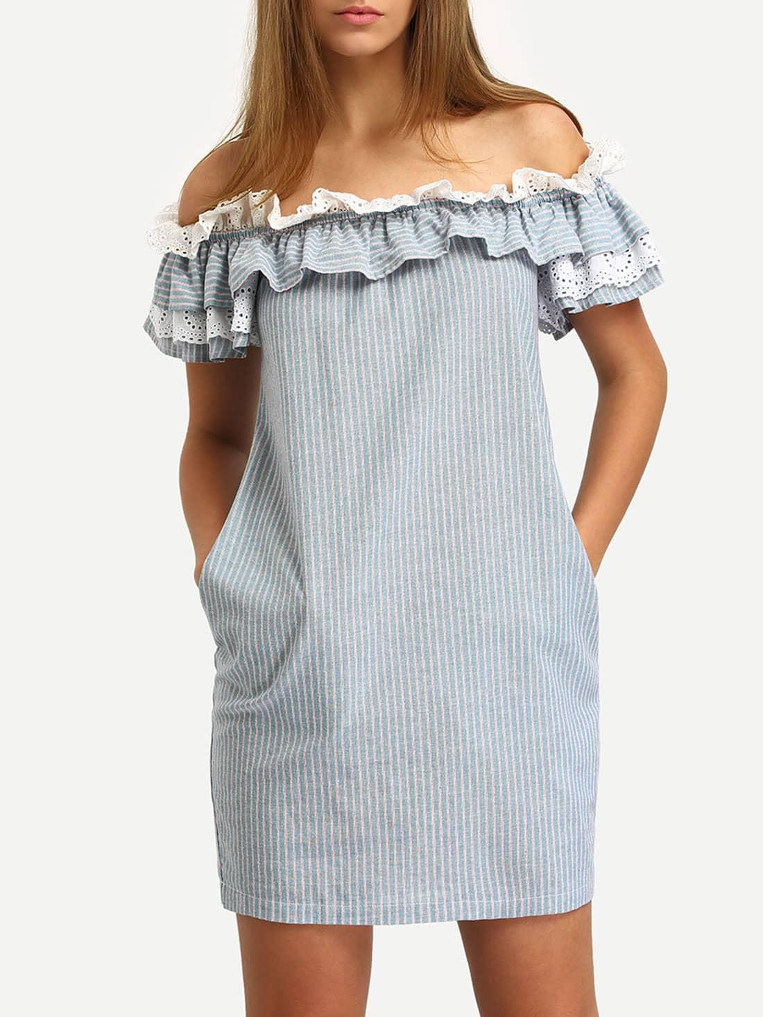 Blue Off The Shoulder Flounce Striped Pockets Dress dress160401501