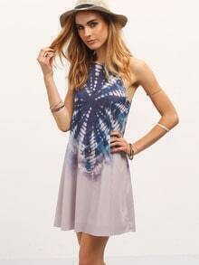 Multicolor Halter Neck Abstract Print Casual Dress