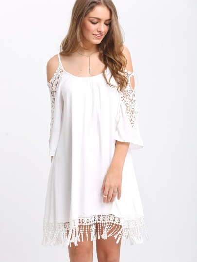 Beige Open Shoulder Crochet Lace Sleeve Tassel Dress
