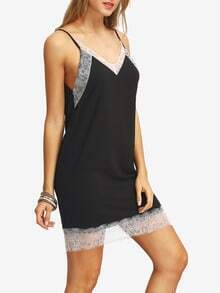 Black Spaghetti Strap Crochet Lace Hem Casual Dress