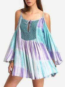 Multicolor Cold Shoulder Tie-dye Print Pleated Dress