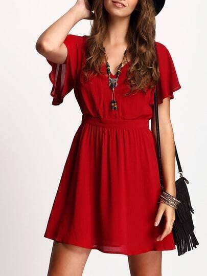 Red Petal Sleeve Elegant Flare Dress