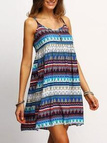 Zig-zag Tribal Print Blue Cami Dress