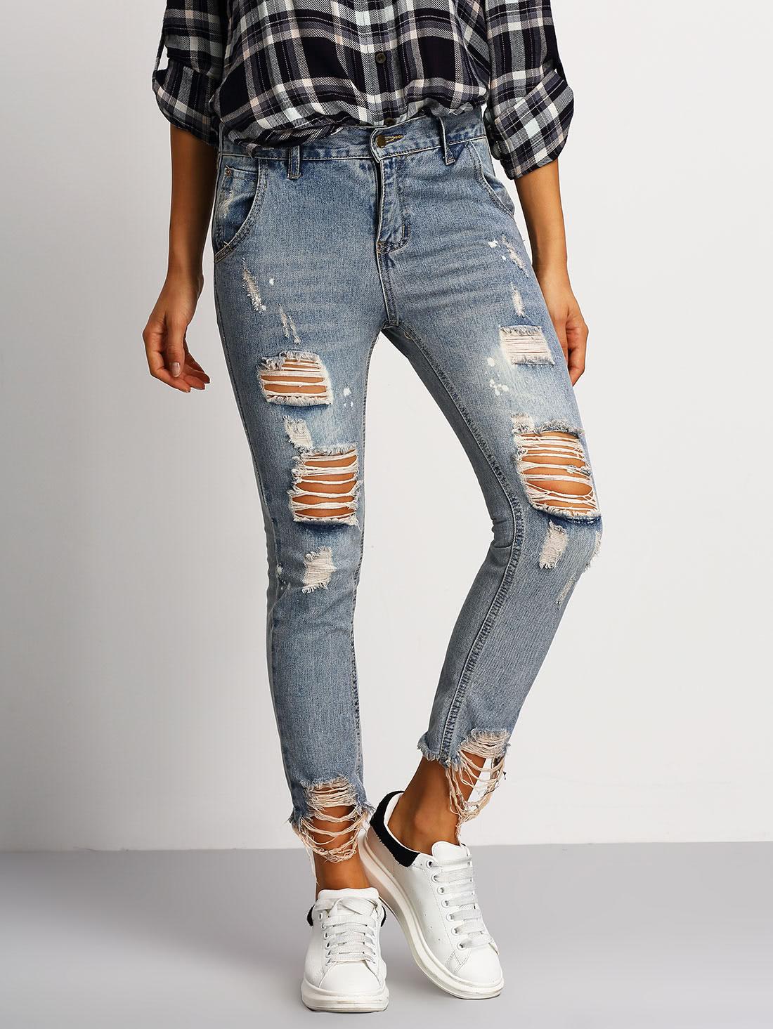 Купить Синие рваные джинсы, Mary, SheIn