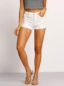 Short en denim avec frange -blanc