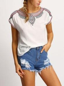 Neck Embroided Peasant T-shirt