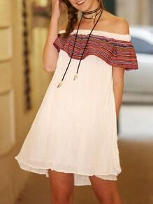 Beige Off The Shoulder Flounce Flare Dress
