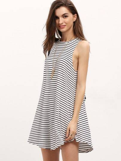 Pinstripe Curved Hem Swing Dress