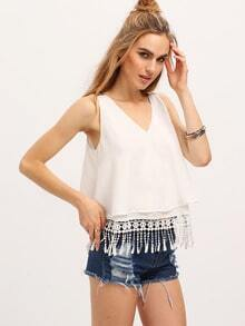 White Layered Dual Strap Tassel Top