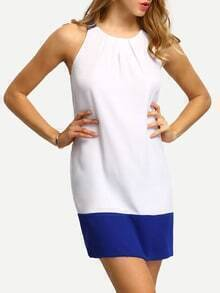 White Cutout Back Colorblock Casual Dress