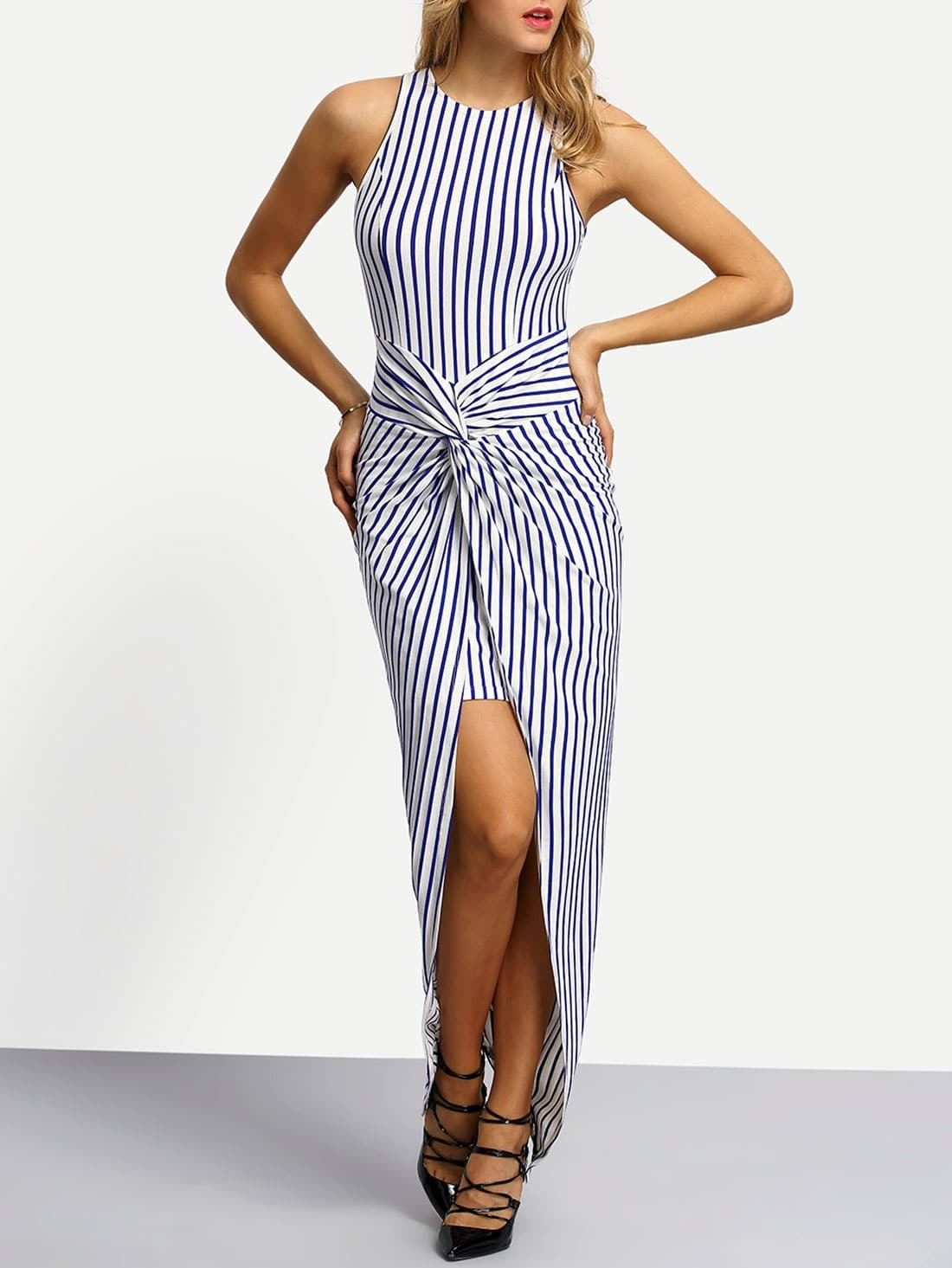 Blue White Twist Front Vertical Striped Asymmectric Dress