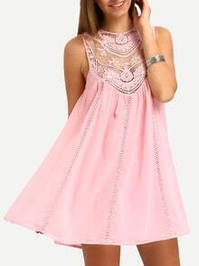 Pink Sleeveless Crochet Lace Embroidered Dress