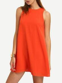 Orange Sleeveless Round Neck Casual Dress