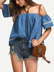 Blue Off The Shoulder Short Sleeve Crochet Lace Blouse