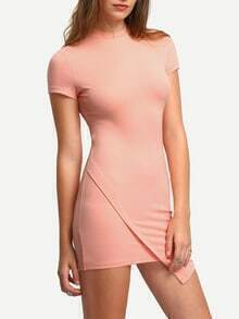 Pink High Neck Wrap Front Bodycon Dress