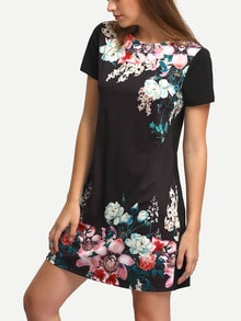 Black Round Neck Floral Print Vintage Dress