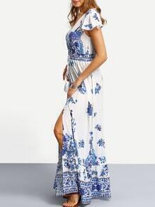 Blue Print In White Cap Sleeve Maxi Dress