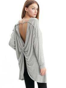 Grey Knotted Front V Neck T-shirt
