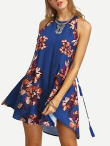 Floral Print In Blue Cut-out Side Shift Dress