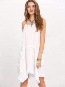 White Asymmetric Hem Raw Trim Shift Dress