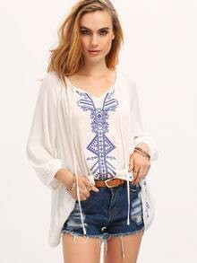 Cream Tie Neck Blue Print Blouse