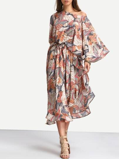Multicolor Floral Print Caftan Sleeve Maxi Dress