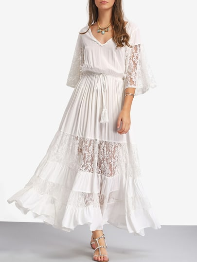 White Lace V Neck Tie Waist Maxi Dress pictures