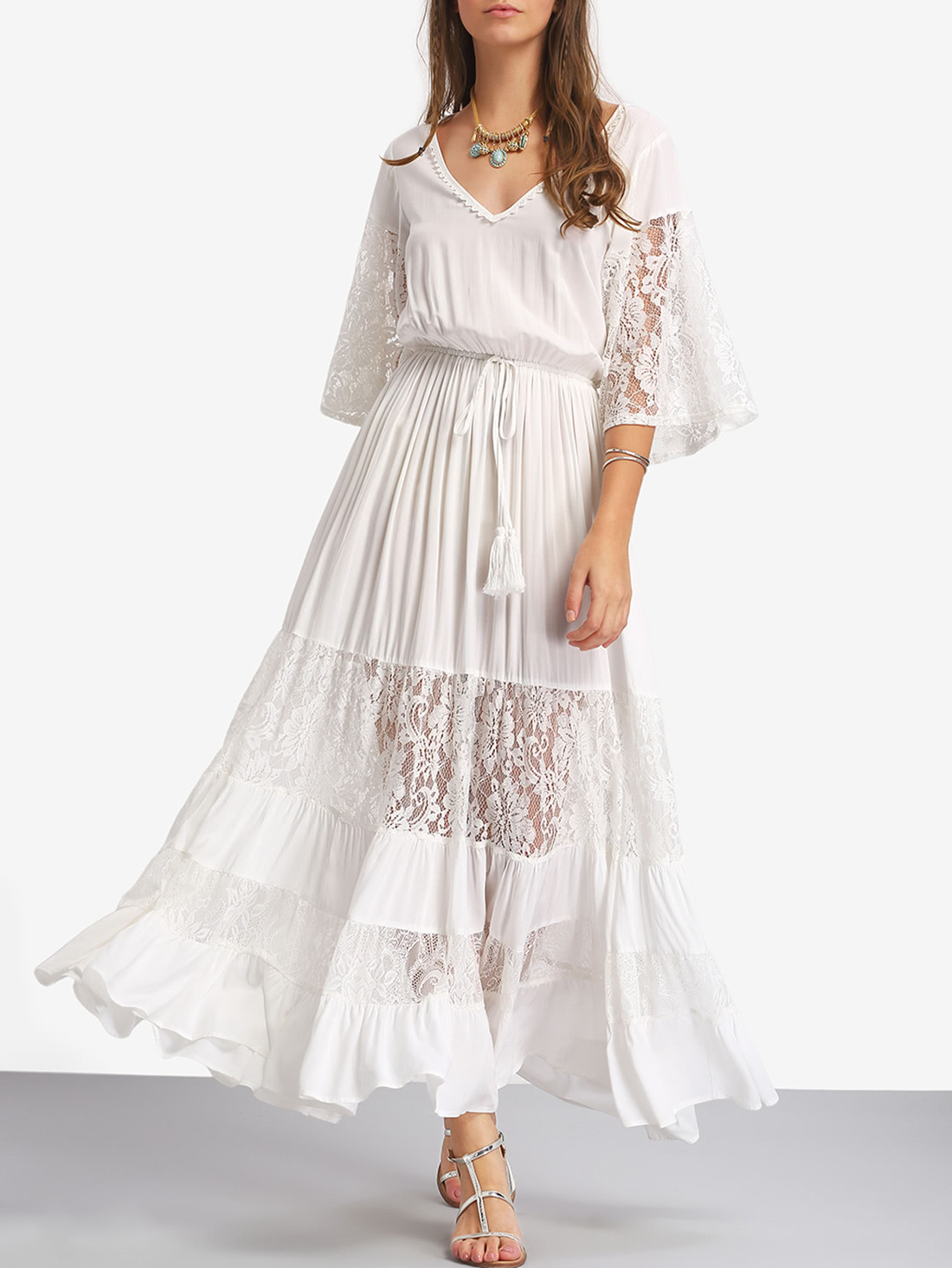Bell Sleeve Contrast Lace Tie Waist Maxi Dress contrast fishnet shoulder bell sleeve swing dress