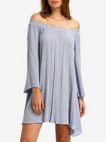 Blue Off The Shoulder Casual Shift Dress