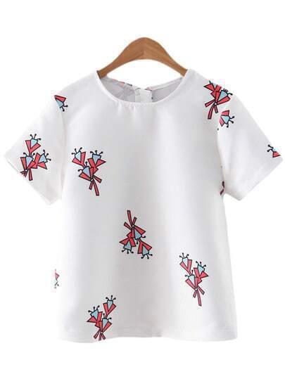 White Short Sleeve Zipper Print Blouse