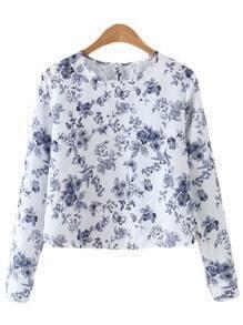 Purple Long Sleeve Floral Print Blouse