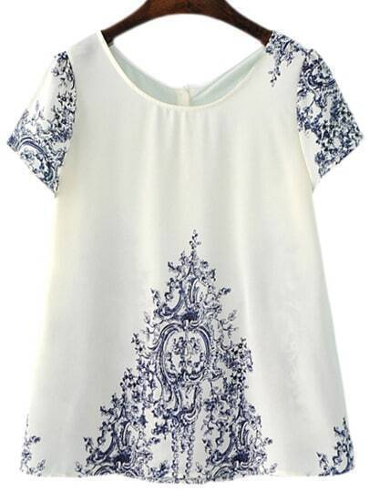 Short Sleeve Blue And White Porcelain Print Blouse