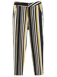 Multicolor Pockets Vertical Stripe Pants