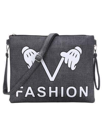 Grey Printed Flat Clutch With Strap