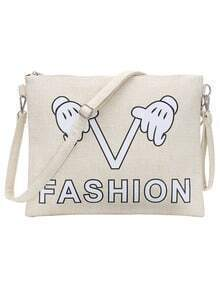 Off White Printed Flat Clutch With Strap
