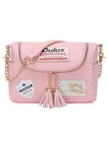 Label Patched Tasselled Zip Pink Corssbody Bag