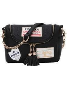 Label Patched Tasselled Zip Black Corssbody Bag