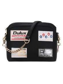 Label Patched Top Zip Black Corssbody Bag