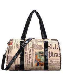 Faux Leather Newspaper Print Boston Bag