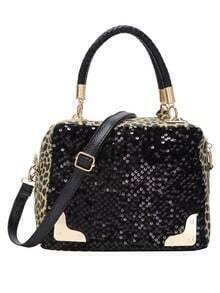 Sequine Applique Leopard Print Embossed Handbag