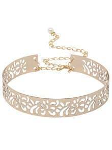 Gold Cutout Metal Belt With Chain And Clasp Closure