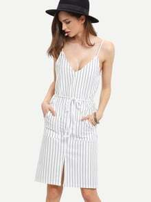 White Spaghetti Strap Vertical Striped Split Dress With Drawstring