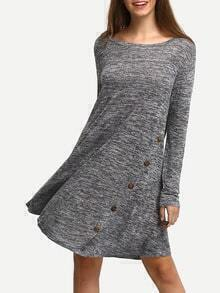 Grey A-Line Dress With Buttons
