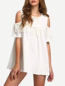White Open Shoulder Fringe A-Line Dress