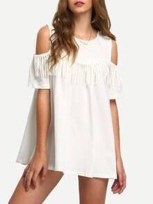 White Open Shoulder Fringe A-Line Dress