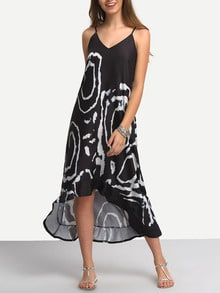 Spaghetti Strap Print High Low Dress