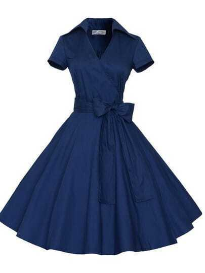 Wrap Bow Tie Shirtwaist Dress