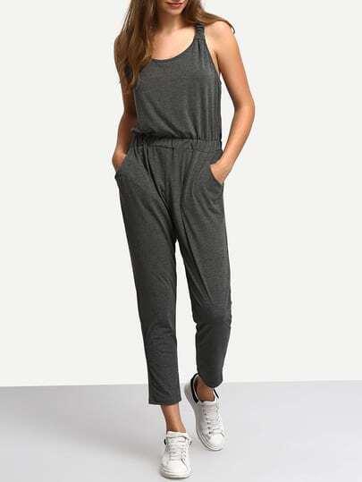 Grey Y-Back Slim Jumpsuit